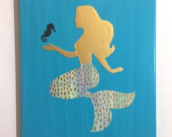 Mermaid Decor, Mermaid Wall Art, Seahorse Art, Nautical Decor, Mermaid and Seahorse, Mermaid Canvas, Mermaid Lover, Girl's Room Art
