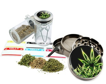 "Leaf Design - 2.5"" Zinc Alloy Grinder & 75ml Locking Top Glass Jar Combo Gift Set Item # G022115-009"
