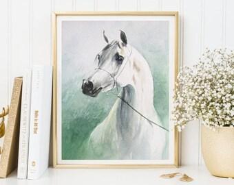 White Horse print, horse art, watercolor horse, horse printable, horse decor, white horse, wall art, horse painting, watercolor print poster