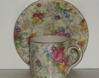 Lord Nelson BCM Ware, Rosetime Chintz Coffee Can Style Cup and Saucer Made in England Free Standard Shipping in the U.S.