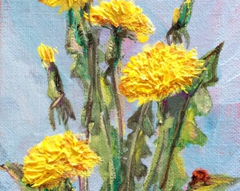 Dandelions painting flowers still life original oil floral painting 7 x 5""
