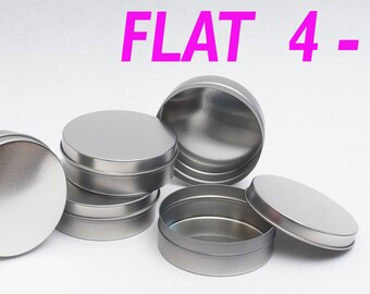 4 Oz Flat Round Metal Tin Container - candles,crafts,storage,survival