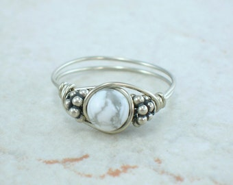 Sterling Silver Howlite and Bali Bead Ring