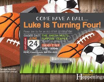Sports Birthday Invitation Sports Invitation Ball Birthday Invite Sports Party Soccer Birthday Baseball Digital File Busy bee's Happenings