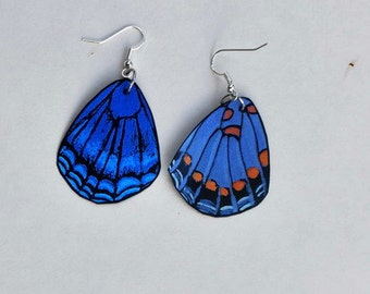 Butterfly Wing Earrings Jewelry Handmade Painted Front & Back Sterling Silver, Hypoallergenic, 14k Gold Fish Hook Earrings, Insects
