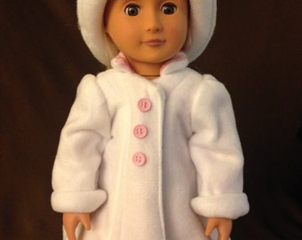 18 inch doll White and pink coat and hat