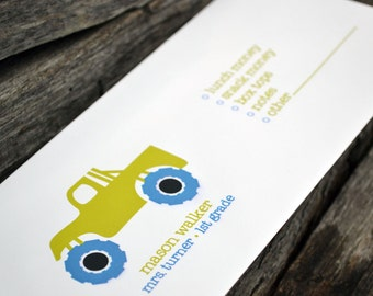 Personalized School Money Envelope for Money and Notes - Monster Truck Design - Personalized School Envelopes - Boys Monster Truck Envelopes