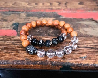 Yoga bracelets. Rosewood Pearwood, Clear Crystal Quartz, Black Sea Sediment  Jasper, Buddha head. Yoga jewelry. Streetwear.
