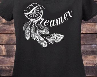 Women's Black T-Shirt DREAMER feather Design- Dream Catcher Print TS532