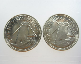 Cufflinks Barbados 25 Cents Sea Windmill Wind Power Vintage Coin Money Handmade Jewelry Cuff Links