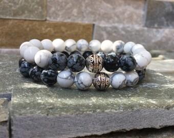 Partner bracelets bracelet set him and her turquoise Obsidian 8mm long distance relationship