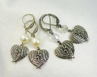 Angel Wing Earrings Sterling Silver, Pearl, Swarovski Crystal, Heart 925, Love, Customize, Sentimental, French Wire,