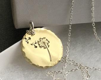 Dandelion wish necklace Dandelion brass necklace Dandelion charm Dandelion jewelry Christmas gift Gold dandelion pendant Gift for her