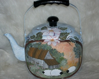 Vintage: old painted Kettle - country decor and little sheep