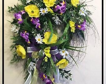 Spring Wreath For Door, Front Door Wreath, Floral Door Wreath, Floral Wreath, Spring Door Wreath, Gift For Mom, Gift For Mothers Day Wreath