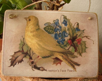 vintage bird image, Freemans face powder, old style hanging decoration,wooden tag.