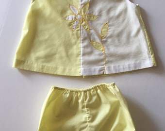 Vintage Yellow and White Daisy two piece set 6 months 9 months