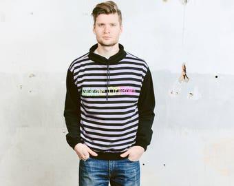 Mens Striped Sweatshirt . Vintage Bold Striped Casual Sweater Sports Sweathirt Retro Sportswear Boyfriend Gift . sz Medium M