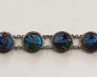 Vintage Butterfly Wing Art Bracelet Made in Brazil
