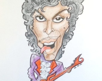 Prince Rock Portrait Rock and Roll Caricature Music Art by Leslie Mehl