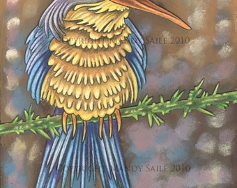 """Beautiful Bird 12 - an 8 x 10"""" ART PRINT of a happy friendly quirky bird fellow with a lovely long orange beak and golden and blue feathers"""