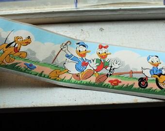 Vintage 1940s Donald Duck Wallpaper Border Dex Brand Unused Wall Paper