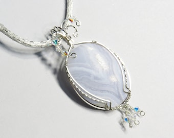 S-56 Blue Crazy Lace Agate Wirewrapped Pendant Silver Wire, Agate Pendant, Agate Necklace, Agate Jewelry, Crazy Lace Jewelry