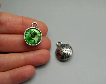 charm silver pendant light green Crystal Pearl birthstone (G87)