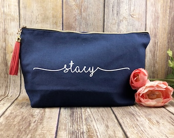 Large Navy canvas makeup bag, bridesmaid gift, personalized makeup bag, bridesmaid gift, gift for girlfriend, gift for bff, customized bag
