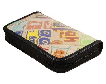 Medium size zip wallet cardboard, FREE SHIPPING, gift for her , zip wallet, vegan wallet, Recycled wallet, Credit Card Wallet, zipper wallet