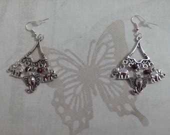 elephant charms and beads design earrings