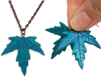 Necklace and Earrings Set - Maple Leaf Necklace - Jewelry Set - Maple Leaf Earrings - Leaf Pendant Necklace - Fall Jewelry -Autumn Jewellery