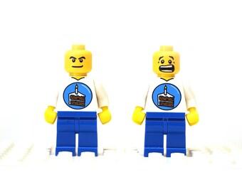 Surprise Happy Birthday cufflinks. Cufflinks made with LEGO(R) bricks. Birthday cake shirt. Cuff links Cufflink Wedding gift