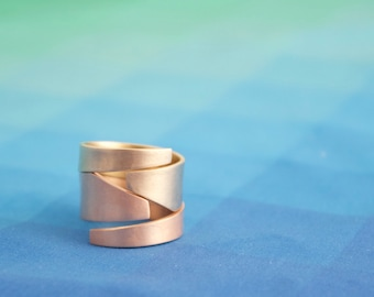 Stackable Asymmetric Ring Set, Geometric Statement Ring Set, Brass and Bronze Rings