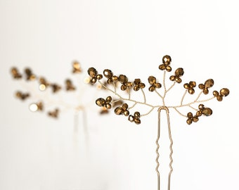 Wedding gold pins Bridal hair accessories Gold crystal pin Crystal hair pins Bridal hair pins Gold crystal pin Vine bridal hair pins 8222