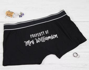 Property of Boxer Shorts - Grooms Boxers - Grooms Box Gift - Wedding Boxer Shorts - Grooms Underwear - Groom Gift - Property of Mrs