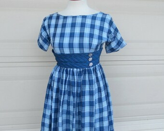 50s 60s High Waist Dress Fit and Flare Dress MINI Dress Blue Plaid Full Skirt with Crinoline XS-S