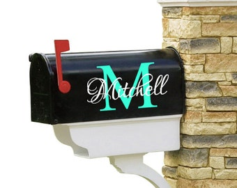 Vinyl decal, Mailbox Decal, Initial, Name, Set of 2, Personalized, Family name, Mailbox Decor, House Number, Address, Wedding decal, Craft