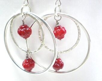 """Extra large double hoop earrings - red and silver hoop earrings, large & small hoops, silver circle statement earrings, 1 1/2"""" hoops"""