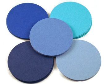 Two Inch Circles Paper Die Cut  2 inch  Circles  in  Jazzy Blues