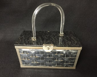 50s,60s VINTAGE PURSE,LUCITE,Bakelite,Plastic,Tin/Metal,Silver Turtle Shell Top,Superawesome!!!