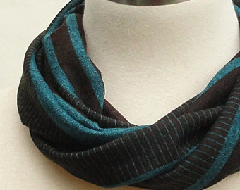 Brown Striped Scarf - Teal, Chocolate Brown Short No Fuss Infinity Scarf