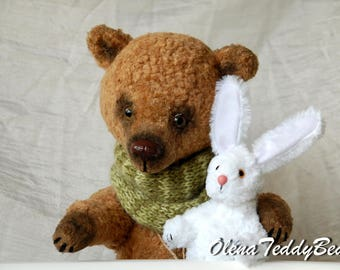 Big bear OOAK toy vintage artist bears collectible bunny plush large artist teddy bear mohair collectible handmade brown stuffed animal