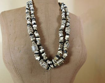 Vintage black and grey faux wood/stone cube bead 2 strand necklace