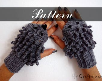 PATTERN Hedgehog gloves Instant download PDF Knitted gloves Fingerless gloves pattern Hedgehog mittens Urchin Animal gloves Hedgehog pattern