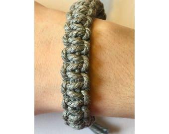 Handmade Adjustable Gray Hemp Bracelet