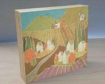 Lavender Village art panel. Lavender poster. Lavender wall art. Village art print. Farmland art print. Country village decor. Shanni Welsh.