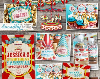 Vintage Carnival Party Collection - INSTANT DOWNLOAD - Printable & Editable Birthday Party Decorations by Sassaby Parties