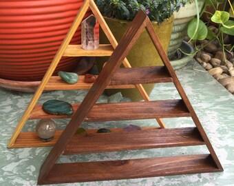 Triangle shelf, crystal display shelf, pyramid shelf , magical triangle shelf,  dark stain triangle shelf