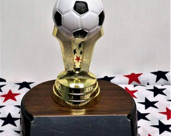 PERSONALIZED SOCCER TROPHY 4 inches tall